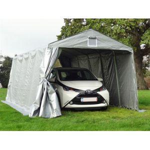 Tente Abri Voiture Garage PRO 3,3x6x2,4m PE, Gris