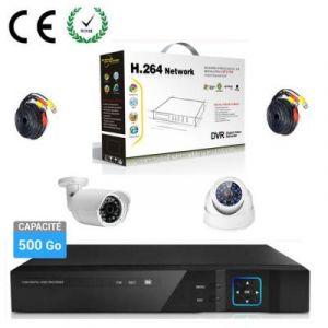 KIT Enregistreur vidéo HD 500 GO de surveillance 4 canaux avec 1 caméra dôme et 1 extérieur