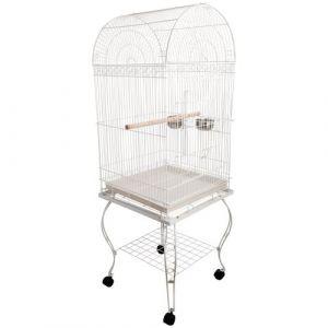 Grande volière cage à oiseaux design avec mangeoire perchoir suspendu plateau amovible étagère et roulettes 54L x 54l x 153H cm blanc