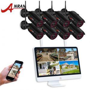 Kit vidéosurveillance Sans-Fil +Facile à installer*étanche +en intérieur et en extérieur*8 Canaux 15 pouces HD 1080 WIFI NVR avec 8 ×caméras 1080p