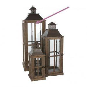 L'Héritier Du Temps - Grande lanterne lampe lampadaire tempête en bois marron vitre et fer carrée 37x37x112cm