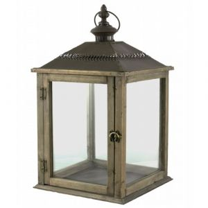 L'Héritier Du Temps - Lampe tempête lanterne en bois et fer marron photophore carré intérieur extérieur 26x26x51cm