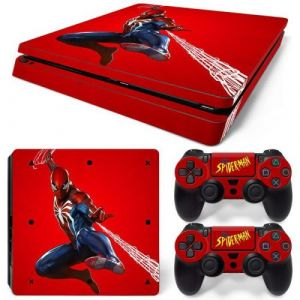 Autocollant Stickers Skin de Protection pour Console et Manette Sony Playstation PS4 Slim - Spiderman #10