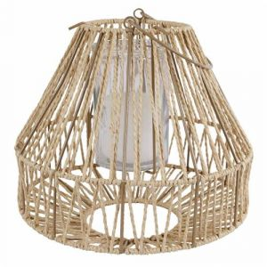 Lanterne à Poser ou à Suspendre Bougeoir Tendance Lampion avec Anse Porte Bougie en Métal Patiné Taupe et Cordelette 29x29x39cm