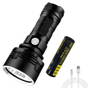 Lampe De Poche Xhp50, Rechargeable Usb Étanche+ Batterie 18650-Noir