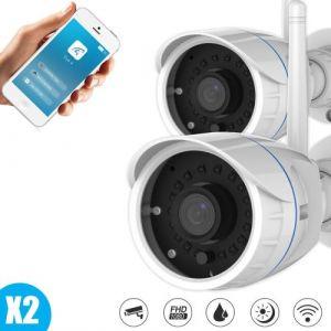 Lot de deux mini caméra tube surveillance extérieure full hd wifi