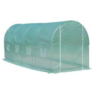 Serre de jardin tunnel surface sol 10 m² 5L x 2l x 2,10H m châssis tubulaire renforcé porte zippée 8 fenêtres enroulables vert