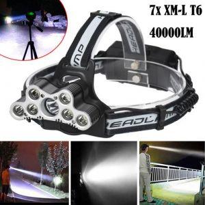 40000 LM 7X XM-L T6 LED rechargeable Projecteur Phare Voyage Lampe frontale