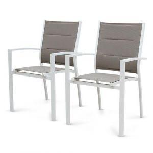 Lot de 2 fauteuils Chicago en aluminium blanc et textilène taupe Alice's Garden