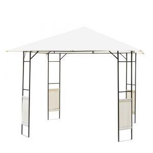 Tonnelle barnum pavillon de jardin dim. 3L x 3l x 2,6H m métal époxy toile polyester haute densité crème