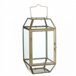 L'Héritier Du Temps - Lanterne à poser lampe 12 vitres lampion style industriel photophore à suspendre en fer et verre patiné laiton 17,5x17,5x44,5cm
