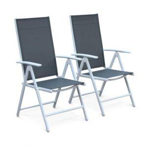 Lot de 2 fauteuils multi-positions Naevia en aluminium blanc et textilène gris - Alice's Garden