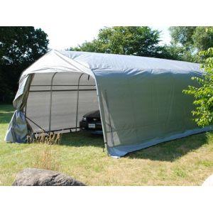 Tente Abri Voiture Garage PRO 3,6x8,4x2,68m PE, Gris