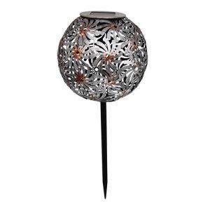 Balise solaire décorative métal argenté à piquer LED blanc chaud WINDY H43cm