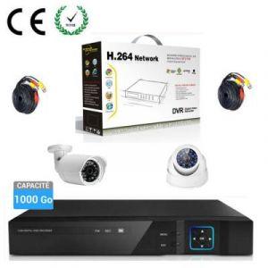 KIT Enregistreur vidéo HD 1000 GO de surveillance 4 canaux avec 1 caméra dôme et 1 extérieur