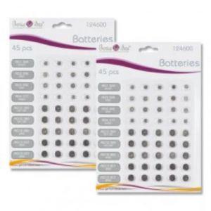 Pile bouton - pack de 90 piles - 6 tailles différentes