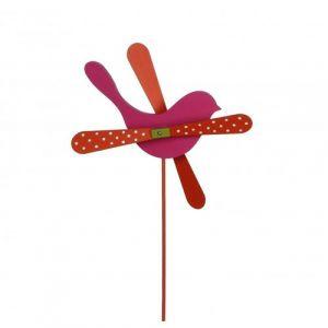 L'Héritier Du Temps - Mobile eolienne de forme oiseau tuteur de jardin ou plante en bois coloré fushia et rouge 25x25x57cm