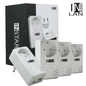 INSTAR Pack de 4 Adaptateurs CPL IN-LAN 500P 500Mbps avec prise de courant intégrée Port Ethernet Blanc EU Plug