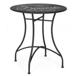Table desserte ronde coloris noir en acier - Dim : Ø 70 x H 76 cm -PEGANE-