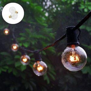 Guirlande Lumineuse Extérieure 7,65M 25pcs 5W G40 Verre Tungstène Ampoule Blanc Chaud Décoration Intérieur étanche Lumineuse