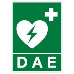 Panneau - Défibrillateur Automatique Externe (DAE) - Plastique Rigide PVC 1,5 mm - Dimensions 150 x 210 mm - Double Face Autocollant Au Dos - Protection Anti-UV