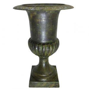 L'Héritier Du Temps - Vase vasque jardiniere en fonte vert anglais style medicis pot de fleur 42x42x58cm