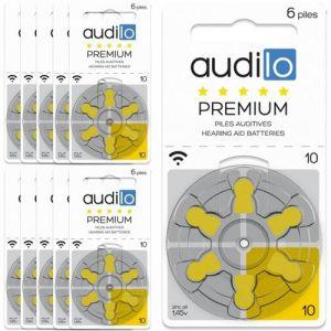 Piles auditives Audilo Premium (Taille 675, 312, 10, 13) - Un lot de 60 piles auditives.