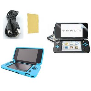 Pack 3 en 1 Nintendo New 2DS XL : Housse silicone Bleu turquoise - Chargeur USB - Film de protection écran - Straße Game ®
