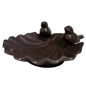 L'Héritier Du Temps - Bain d'oiseau mangeoire à oiseaux grainetier abreuvoir baignoire en fonte marron 9x19x21cm
