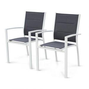 Lot de 2 fauteuils Chicago - Aluminium blanc et textilène gris foncé Alice's Garden