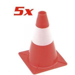 Pack de 5 cônes de signalisation rouge et blanc - 30 cm