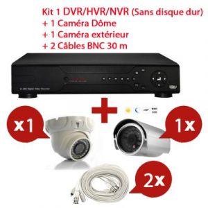 Mecer - KIT Enregistreur vidéo HYBRID HD de surveillance 8 canaux avec 1 caméra dôme et 1 extérieur  - Sans disque dur