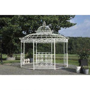 L'Héritier Du Temps - Grande tonnelle kiosque de jardin pergola abris rond kiosque en fer forgé et fonte blanc 340x370x370cm