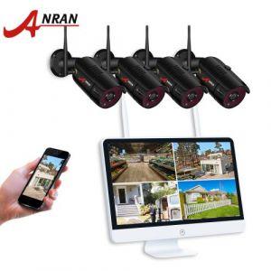 Kit vidéosurveillance sans fil +étanche *en intérieur et en extérieur*Accès à distance *8 Canaux 15 pouces HD 1080P WIFI NVR avec 4 ×Caméras 1080p
