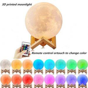 Lampe Warm Moon avec impression 3D à LED en 16 couleurs avec télécommande et télécommande pour télécommande tactile