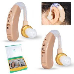 1 paire amplificateur auditif, appareil audio personnel avec réduction du bruit, kit de nettoyage pour prothèse auditive pour adultes et sen