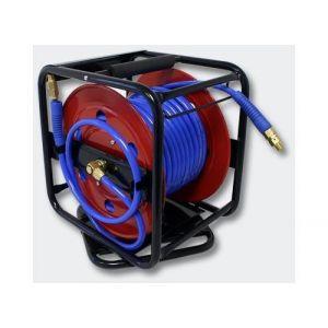 Dévidoir - Enrouleur de tuyau pneumatique portable en acier 30 m 12 bar Rotation à 360°