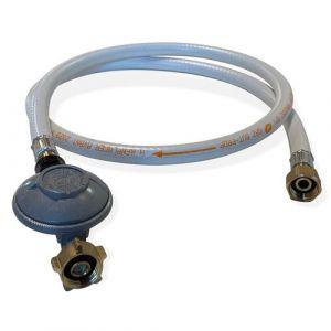 Kit Tuyau flexible de gaz 1,5 m à embouts mécaniques + Détendeur Butane 28mbar 1,3kg/h  Normes NF