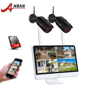 Kit vidéosurveillance sans fil +étanche +en intérieur et en extérieur*4 Canaux 15 pouces HD 1080P WIFI NVR avec 2 ×caméras 1080p, installé disque dur 1 TB