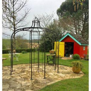 L'Héritier Du Temps - Gloriette princess small tonnelle en fer forgé pergola de jardin abris rond en acier peinture epoxy marron martelé 240x240x300cm