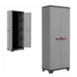 Kis armoire à balais en résine gris meuble haut jardin utility stilo 9722