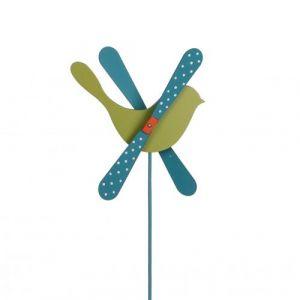 L'Héritier Du Temps - Mobile eolienne de forme oiseau tuteur de jardin ou plante en bois coloré vert et bleu 25x25x57cm