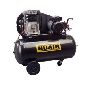 Nuair - Compresseur à air 2CV 1,5kW Monophasé 50L 10 bar Entraînement par courroie lubrifié - B2800/50CM2