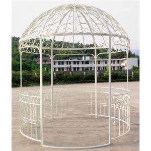 L'Héritier Du Temps - Grande tonnelle kiosque de jardin pergola abris rond gloriette en fer forgé blanc 250x250x290cm