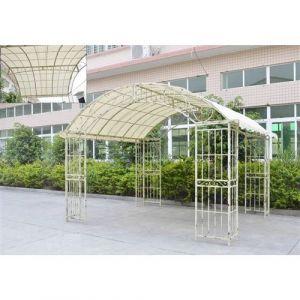 L'Héritier Du Temps - Grande tonnelle couverte kiosque de jardin pergola abris rectangle en fer forgé blanc 280x305x405cm