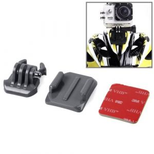 SIXXY Gopro Helmet Surface courbée + 3M VHB Sticker + Mount Stand Kit pour GoPro Hero 4 / 3+ / 3/2/1 (Gris)