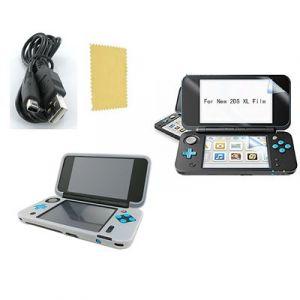 Pack 3 en 1 Nintendo New 2DS XL : Housse silicone blanc - Chargeur USB - Film de protection écran - Straße Game ®