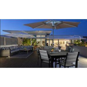 Parasol de balcon rond coloris taupe LED en aluminium - Dim : D.3 x H 2.4 0 m -PEGANE-