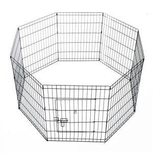 Parc enclos acier pour chien animaux 1 porte 8 panneaux 76 l x 61 l noir