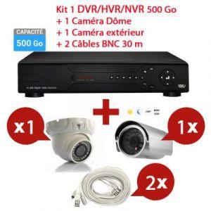 Mecer - KIT Enregistreur 500 Go vidéo HYBRID HD de surveillance 8 canaux avec 1 caméra dôme et 1 extérieur